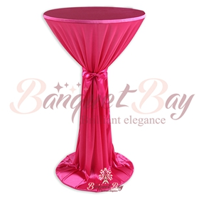 Fuchsin ninon round cocktail/higboy/cake table covers
