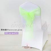 Fluorescent green crystal organza chair sash for wedding banquet