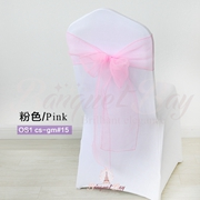 Pink crystal organza chair sash for wedding banquet chair back c