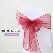 Burgundy crystal organza chair sash for wedding banquet chair ba