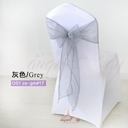 Grey crystal organza chair sash for wedding banquet chair back c