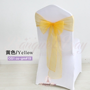 Yellow crystal organza chair sash for wedding banquet chair back