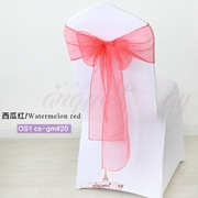Watermelon red crystal organza chair sash for wedding banquet ch