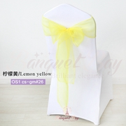 Lemon yellow crystal organza chair sash for wedding banquet chai