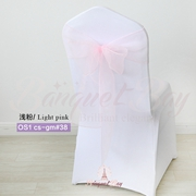 Light pink crystal organza chair sash for wedding banquet chair