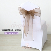 Light coffee crystal organza chair sash for wedding banquet chai