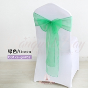 Green crystal organza chair sash for wedding banquet chair back