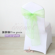 Tea green crystal organza chair sash for wedding banquet chair b