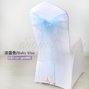 Baby bule crystal organza chair sash for wedding banquet chair b