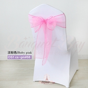 Baby Pink crystal organza chair sash for wedding banquet chair b