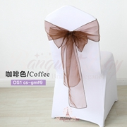Coffee crystal organza chair sash for wedding banquet chair back