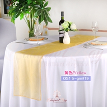 Yellow crystal organza Table-Runner,Table Flags for wedding banq