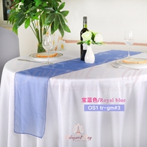 Royal blue crystal organza Table-Runner,Table Flags for wedding