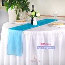 Bule crystal organza Table-Runner,Table Flags for wedding banque