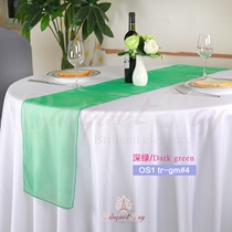 Dark Green Crystal Organza Table Runner,Table Flags For Wedding