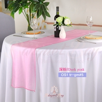 Dark Pink Crystal Organza Table Runner,Table Flags For Wedding B