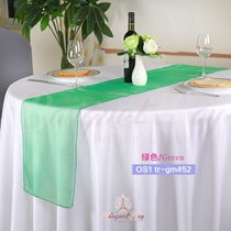 Green crystal organza Table-Runner,Table Flags for wedding banqu