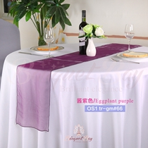 Eggplant purple crystal organza Table-Runner,Table Flags for wed