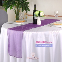 Purple crystal organza Table-Runner,Table Flags for wedding banq