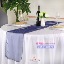 Navy bule crystal organza Table-Runner,Table Flags for wedding b