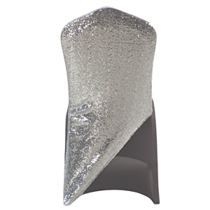 Sequined Silver-grey Spandex Chair cap cover Hat/Suit Bag