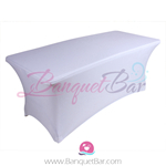 White stretch Rectangle Table Covers