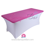 Pink stretch Rectangle Table Topper
