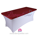 Burgundy stretch Rectangle Table Topper
