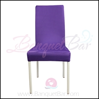 Cadbury-purple spandex half banquet chair covers, stretch lycra