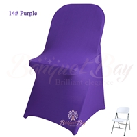 Cadbury-purple spandex folding chair covers, stretch lycra for