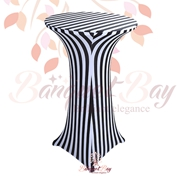 lycra White-Black-Strip1 Printted spandex cocktail table covers