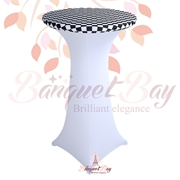 lycra stretch Black-White Checked spandex cocktail table toppers
