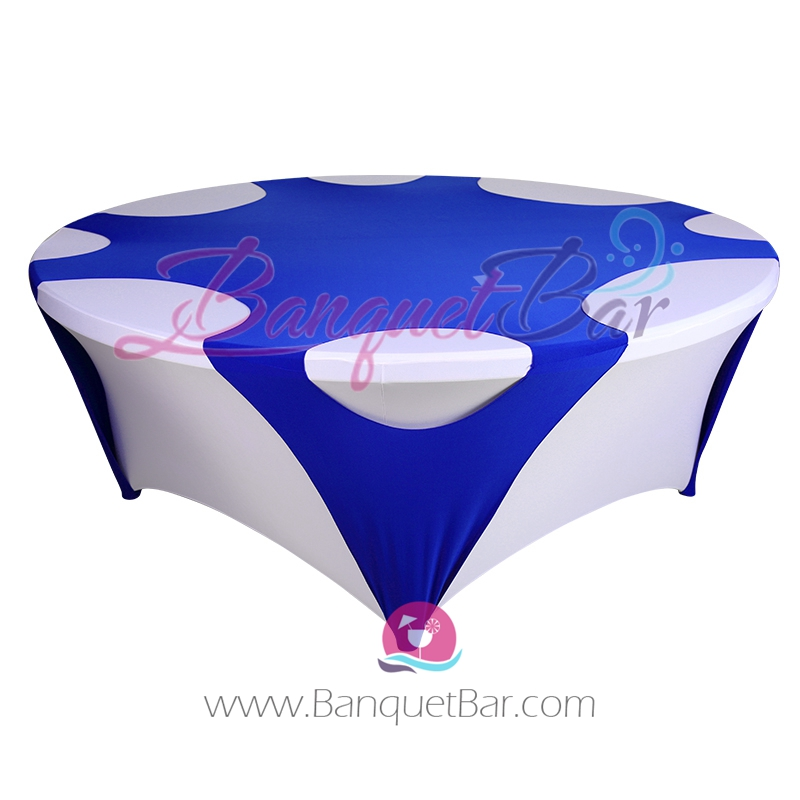 Dark Blue ROUND STRETCH TABLE OVERLAYS