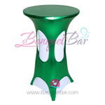 Green Metallic Spandex Cocktail Table Overlays