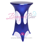 Royal-Blue Metallic Spandex Cocktail Table Overlays