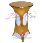 Dark-Gold Metallic Spandex Cocktail Table Overlays