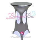 Siver-Grey Metallic Spandex Cocktail Table Overlays