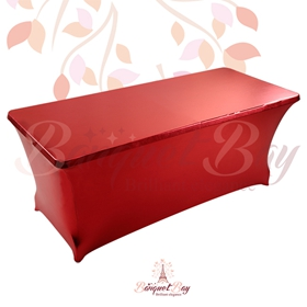metallic Red Rectangle spandex table covers