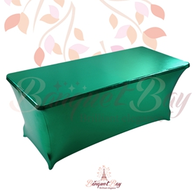 metallic Dark-Green Rectangle spandex table covers