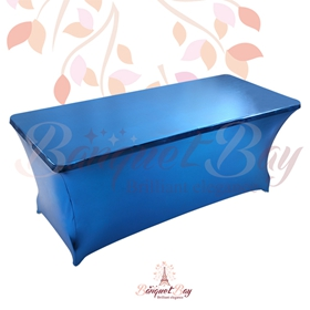 metallic Blue Rectangle spandex table covers