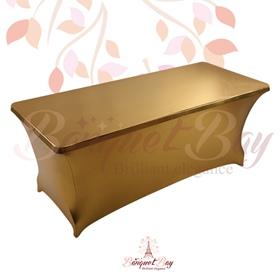 metallic Dark-Gold Rectangle spandex table covers