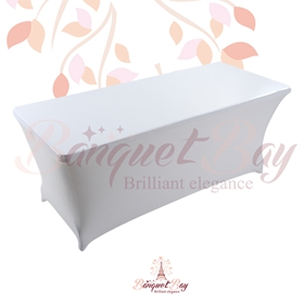 metallic White Rectangle spandex table covers