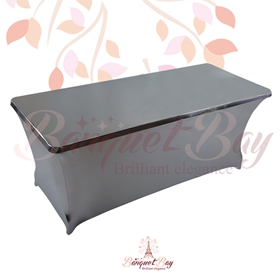 metallic Dark Siver Rectangle spandex table covers