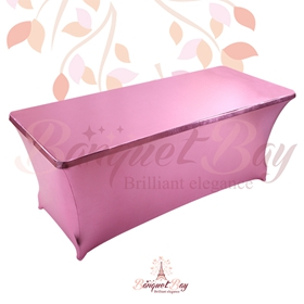 metallic Pink Rectangle spandex table covers
