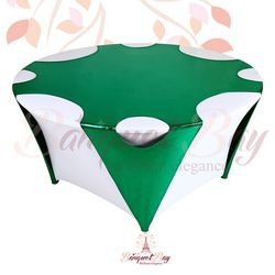 Green round Metallic Stretch Table Overlays