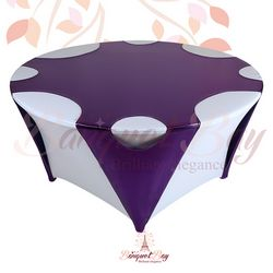 Purple round Metallic Stretch Table Overlays
