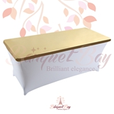 metallic Gold Rectangle spandex table toppers