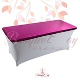 metallic Fuchsia Rectangle spandex table toppers
