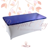 metallic Royal-Blue Rectangle spandex table toppers