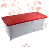 metallic Red Rectangle spandex table toppers
